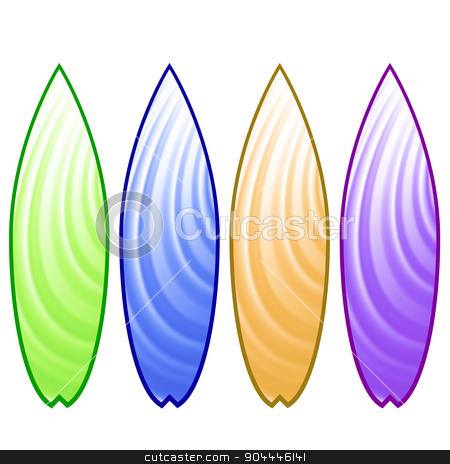 Surfboards stock vector clipart, Set of Colorful Surfboards Isolated on White Background by valeo5