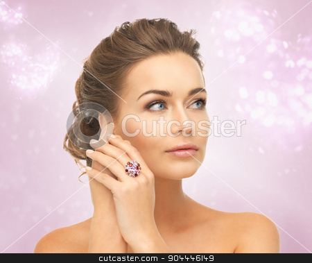 woman with one cocktail ring stock photo, picture of beautiful woman with cocktail ring by Syda Productions