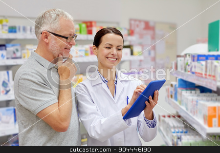 pharmacist with tablet pc and senior man stock photo, medicine, pharmaceutics, health care and people concept - happy pharmacist with tablet pc computer and senior man customer at drugstore by Syda Productions
