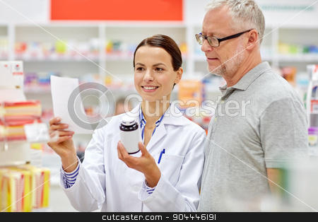 pharmacist and senior man buying drug at pharmacy stock photo, medicine, pharmaceutics, health care and people concept - happy pharmacist and senior man customer with drug and prescription at drugstore by Syda Productions