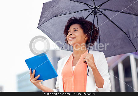 businesswoman with umbrella and tablet pc in city stock photo, business, bad weather and people and concept - happy african american businesswoman with umbrella and tablet pc computer at city street by Syda Productions