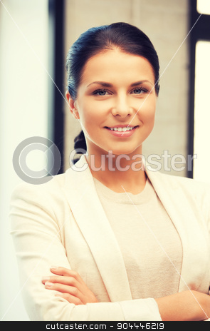 happy and smiling woman stock photo, bright picture of happy and smiling woman by Syda Productions