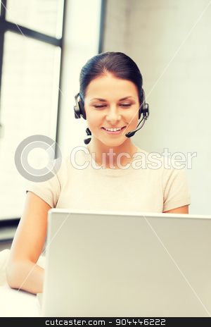 helpline operator with laptop computer stock photo, picture of helpline operator with laptop computer by Syda Productions