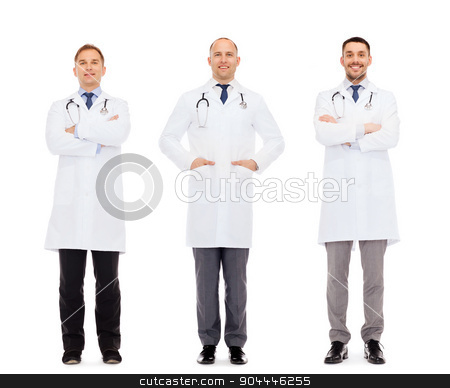 happy doctors with stethoscope stock photo, medicine, profession and health care concept - happy doctors with stethoscope by Syda Productions