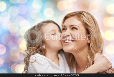 happy mother with daughter hugging and kissing stock photo, people, motherhood, family and adoption concept - happy mother and daughter hugging and kissing over blue holidays lights background by Syda Productions