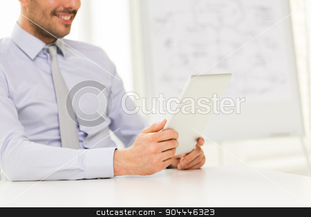close up of businessman hands with tablet pc stock photo, business, people and technology concept - close up of businessman hands with tablet pc computer at office by Syda Productions
