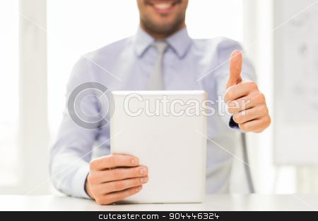 close up of businessman hands with tablet pc stock photo, business, people, technology, gesture and teamwork concept - close up of businessman hands with tablet pc computer showing thumbs up at office by Syda Productions