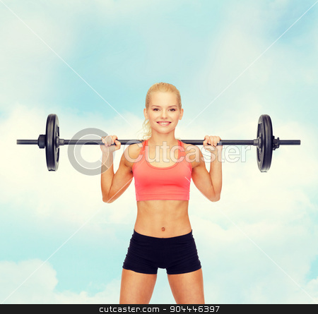 smiling sporty woman exercising with barbell stock photo, fitness, sport and dieting concept - smiling sporty woman exercising with barbell by Syda Productions