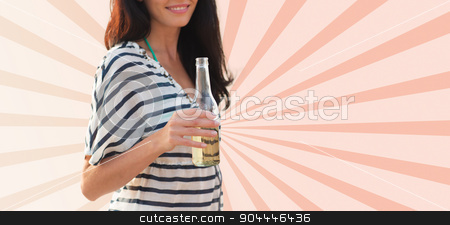close up of smiling young woman drinking stock photo, summer holidays, drinks and people concept - close up of smiling young woman drinking from bottle over beige burst rays background by Syda Productions