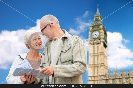 senior couple with map over london big ben tower stock photo, family, age, tourism, travel and people concept - senior couple with map over big ben tower in london city background by Syda Productions