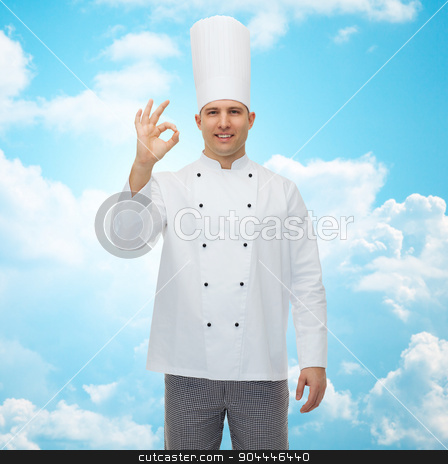 happy male chef cook showing ok sign stock photo, cooking, profession, gesture and people concept - happy male chef cook showing ok sign by Syda Productions
