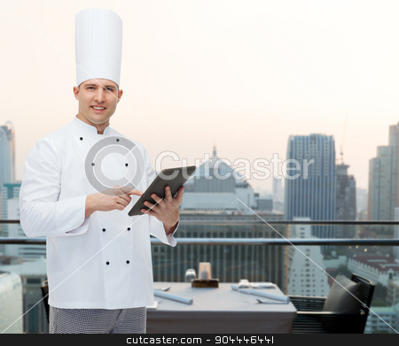 happy male chef cook holding tablet pc stock photo, cooking, profession and people concept - happy male chef cook holding tablet pc computer over city restaurant lounge background by Syda Productions