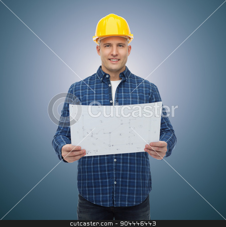 smiling male builder in helmet with blueprint stock photo, repair, construction, building, people and maintenance concept - smiling male builder or manual worker in helmet with blueprint over blue background by Syda Productions