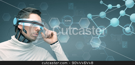man with futuristic 3d glasses and sensors stock photo, people, technology, future and progress - man with futuristic 3d glasses and microchip implant or sensors over gray background and molecules with chemical formulas by Syda Productions