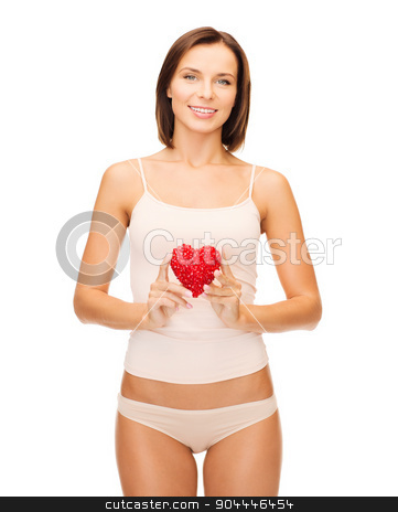 beautiful woman in cotton underwear and red heart stock photo, health, charity and beauty concept - beautiful woman in cotton underwear showing red heart by Syda Productions