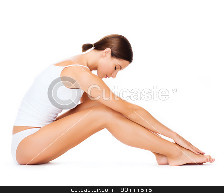 woman in cotton underwear doing exercises stock photo, health, sport and beauty concept - sporty woman in cotton underwear doing exercises by Syda Productions