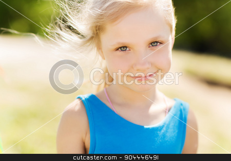 happy little girl outdoors at summer stock photo, summer, childhood, leisure and people concept - happy little girl outdoors by Syda Productions