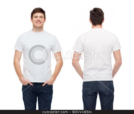 smiling young man in blank white t-shirt stock photo, t-shirt design and people concept - smiling young man in blank white t-shirt by Syda Productions