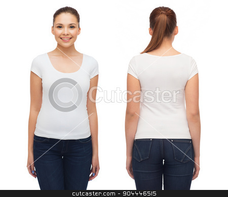 smiling young woman in blank white t-shirt stock photo, t-shirt design and people concept - smiling young woman in blank white t-shirt by Syda Productions