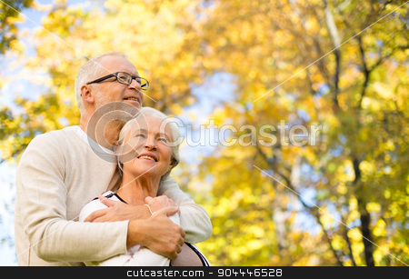 happy senior couple in autumn park stock photo, family, age, season and people concept - happy senior couple hugging over autumn trees background by Syda Productions