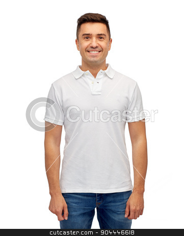 smiling man in white blank polo t-shirt stock photo, clothing, advertisement and people concept - smiling middle aged latin man in white blank polo t-shirt by Syda Productions
