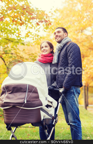 smiling couple with baby pram in autumn park stock photo, love, parenthood, family, season and people concept - smiling couple with baby pram in autumn park by Syda Productions