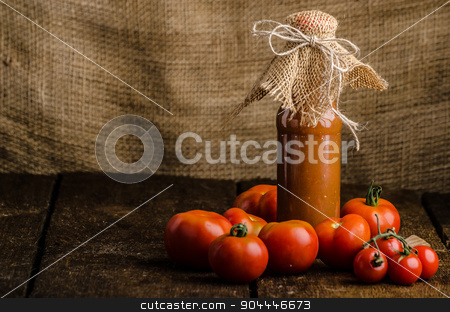Homemade ketchup from tomatoes grown in organic garden stock photo, Homemade ketchup from tomatoes grown in organic garden by Peteer