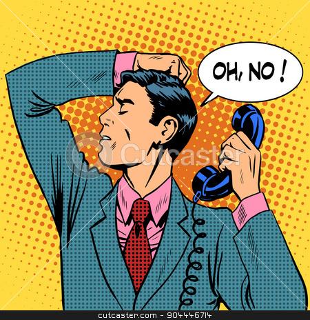 depressed man talking phone communication stock vector clipart, The depressed man talking on phone communication. Retro style pop art by studiostoks