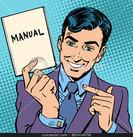 man manual stock vector clipart, The man is a businessman with a manual in hand. Retro style pop art by studiostoks