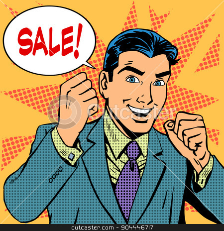 Male businessman sale sales discount store shopping stock vector clipart, Male businessman sale sales discount store shopping. Retro style pop art by studiostoks