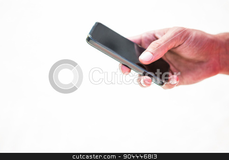 Close up hands sending a text message stock photo, Close up hands sending a text message on a white background by Wavebreak Media