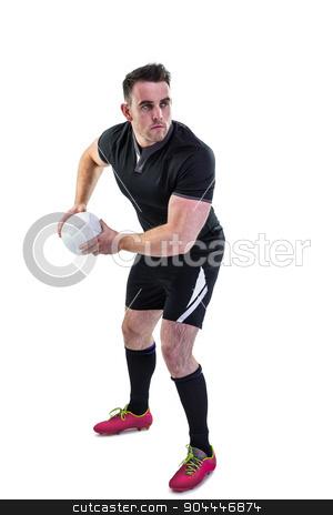 Rugby player throwing the ball stock photo, Rugby player throwing the ball on white background by Wavebreak Media