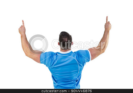 Rugby player cheering and pointing stock photo, Rugby player cheering and pointing on white background by Wavebreak Media