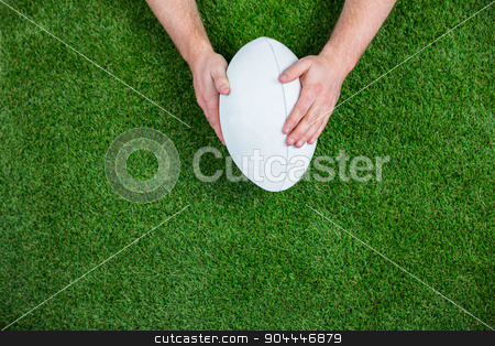 Rugby player scoring a try stock photo, Rugby player scoring a try on astro turf grass by Wavebreak Media