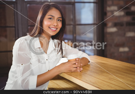Portrait of a beautiful woman stock photo, Portrait of a beautiful woman in a cafe by Wavebreak Media
