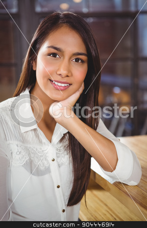 Portrait of a beautiful woman stock photo, Portrait of a beautiful woman in a cafe by Wavebreak Media