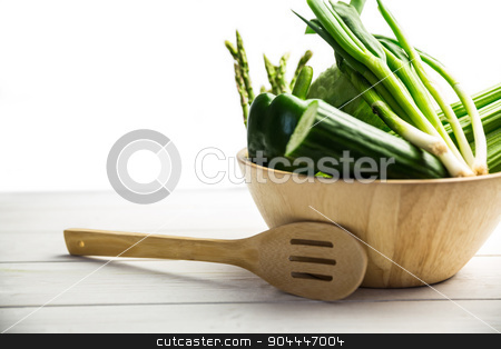 Green vegetables in bowl stock photo, Green vegetables in bowl shot in studio by Wavebreak Media