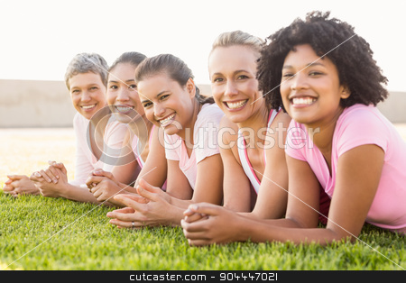 Smiling women lying in a row and wearing pink for breast cancer stock photo, Portrait of smiling women lying in a row and wearing pink for breast cancer in parkland by Wavebreak Media