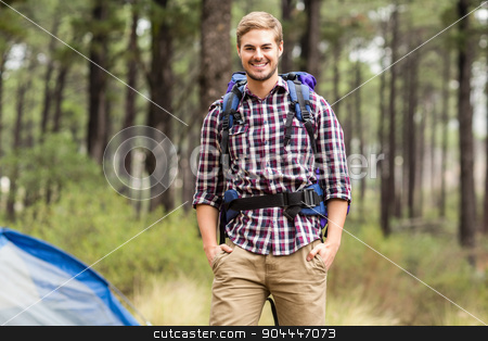 Portrait of a young handsome hiker stock photo, Portrait of a young handsome hiker in the nature by Wavebreak Media