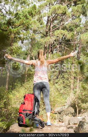 Carefree blonde hiker with arms outstretched  stock photo, Carefree blonde hiker with arms outstretched in the nature by Wavebreak Media