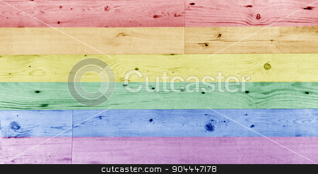 gay pride rainbow flag pattern on wooden surface stock photo, homosexuality, sex minorities, design and background concept - pale gay pride rainbow flag pattern on wooden surface by Syda Productions