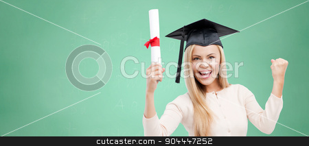 student in trencher cap with diploma over green stock photo, education, high school, knowledge, graduation and people concept - happy student girl or woman in trencher cap with diploma certificate over green chalk board background by Syda Productions