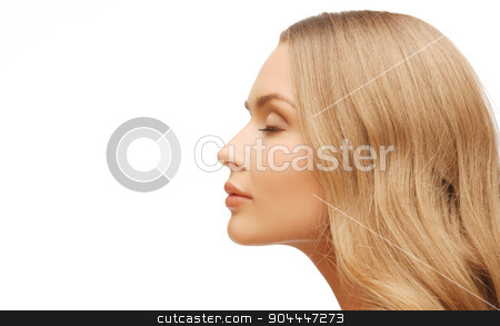 beautiful woman face with long blond hair stock photo, people, beauty and hair care concept - beautiful woman face with long blond hair by Syda Productions
