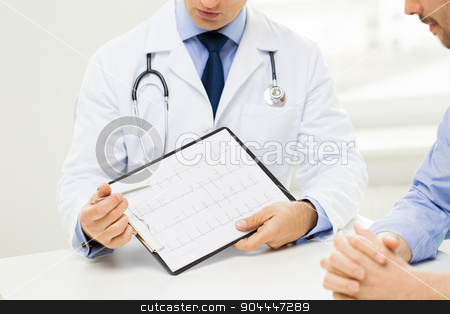 close up of male doctor and patient with clipboard stock photo, medicine, health care, people and cardiology concept - close up of f male doctor and patient hands with cardiogram on clipboard by Syda Productions