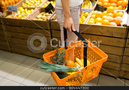 close up of woman with food basket in market stock photo, sale, shopping, consumerism and people concept - close up of young woman with food basket in market by Syda Productions