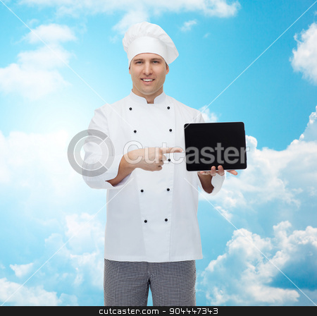 happy male chef cook showing with tablet pc stock photo, cooking, profession and people concept - happy male chef cook showing tablet pc computer black blank screen over blue sky with clouds background by Syda Productions