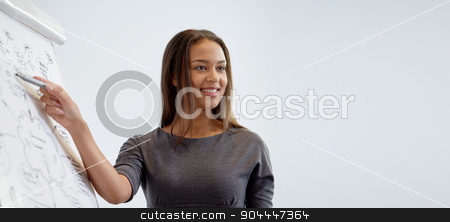 smiling businesswoman on presentation in office stock photo, business and people concept - smiling businesswoman pointing marker to flipboard on presentation in office by Syda Productions