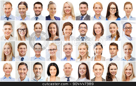 collage with many business people portraits stock photo, success concept - collage with many business people portraits by Syda Productions