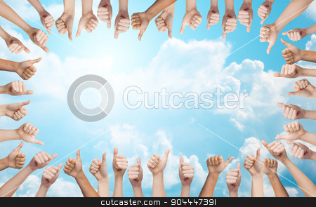 human hands showing thumbs up in circle stock photo, gesture, people, and body parts concept - human hands showing thumbs up in circle by Syda Productions