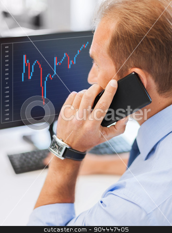 businessman with smartphone in office stock photo, business, communication, money and technology concept- businessman with smartphone and forex chart on monitor screen in office by Syda Productions